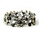 Elegance by Carbonneau B-8661-H-Black Hematite Black Crystal Bridal Stretch Bracelet 8661