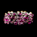 Elegance by Carbonneau B-8661-S-Pink Silver Pink Crystal Bridal Stretch Bracelet 8661