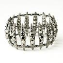 Elegance by Carbonneau B-8690-H-Smoked Hematite Smoked Crystal Bridal Stretch Cuff Bracelet 8690