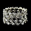 Elegance by Carbonneau B-8691-S-Clear Silver Clear Crystal Stretch Cuff Bridal Bracelet 8691