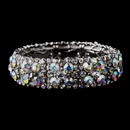 Elegance by Carbonneau B-8703-AB Sparkling Antique Silver Stretch Bracelet w/ Clear & Aurora Borealis Crystals 8703
