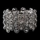 Elegance by Carbonneau B-8704-Silver-Clear Striking Antique Silver Stretch Cuff Bracelet w/ Clear Crystals 8704