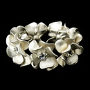 Elegance by Carbonneau B-8736-Ivory Ivory Blush & Rhinestone Flower Bridal Stretch Bracelet 8736