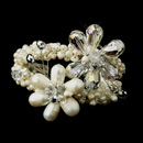 Elegance by Carbonneau B-8775-S-Ivory Silver Ivory Freshwater Pearl And AB Crystal Bridal Cuff Bracelet 8775
