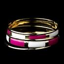 Elegance by Carbonneau B-8800-G-Fuchsia Golden White & Fuchsia Modern Myth Stackable Bangle Bracelet Set 8800