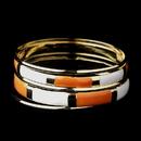 Elegance by Carbonneau B-8800-G-Orange Golden White & Orange Modern Myth Stackable Bangle Bracelet Set 8800