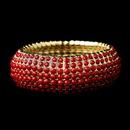 Elegance by Carbonneau B-8802-G-Red Gold Red Stretch Bracelet 8802