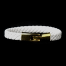 Elegance by Carbonneau B-8805-G-White Gold White Leather Bracelet 8805