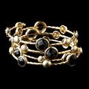 Elegance by Carbonneau B-8807-G-Black Gold Black Rhinestone Fashion Cuff Bracelet 8807