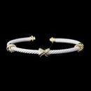 Elegance by Carbonneau B-8815-G-White Gold White Cuff Bracelet 8815