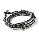 Elegance by Carbonneau B-8833-Black Black and Grey Beaded Fleur De Lis Fashion Bracelet 8833
