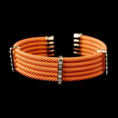 Elegance by Carbonneau B-8865-G-Orange Gold Orange Coral Rhinestone Designer Inspired Open Cuff Bangle Bracelet 8865