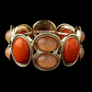 Elegance by Carbonneau B-8866-G-Orange Multi Orange & Coral Jeweled Bezel Style Stretch Bracelet 8866
