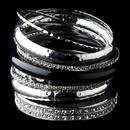 Elegance by Carbonneau B-8868-S-Black Silver & Black Rhinestone Animal Print Stackable Bracelet Set 8868