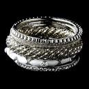 Elegance by Carbonneau B-8869-S-White Silver & White Rhinestone 6 Piece Bangle Bracelet Set 8869