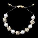 Elegance by Carbonneau B-8879-G-White Gold White Pearl Rhinestone Pave Disco Ball Shamballa Bracelet 8879