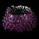 Elegance by Carbonneau B-916-Fuchsia Captivating Silver Fuchsia Rhinestone Stretch Cuff Bracelet B 916