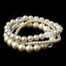 Elegance by Carbonneau B-9265-S-Rum Silver Rum Pearl Three Row Bracelet 9265