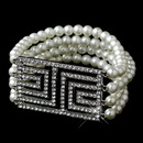 Elegance by Carbonneau B-9269-AS-Ivory Antique Silver Ivory Pearl & Rhinestone Design Bracelet 9269