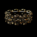 Elegance by Carbonneau B-930-Brown Leaf Design Gold Brown Wedding Crystal Bracelet B 930