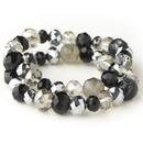 Elegance by Carbonneau B-9507-S-Black Black & Smoke Faceted Glass Stretch Bracelet 9507
