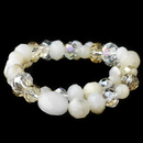 Elegance by Carbonneau B-9507-S-Lt-Topaz Light Topaz Cream Faceted Glass Stretch Bracelet 9507