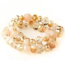 Elegance by Carbonneau B-9507-S-Peach Peach Faceted Glass Stretch Bracelet 9507