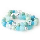 Elegance by Carbonneau B-9507-S-Turquoise Aqua, Mint & Turquoise Faceted Glass Stretch Bracelet 9507