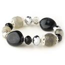 Elegance by Carbonneau B-9508-S-Black Silver Black Faceted Glass Stretch Bracelet 9508