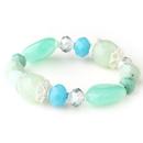Elegance by Carbonneau B-9508-S-Turquoise Silver Mint Green & Aqua Faceted Glass Stretch Bracelet 9508