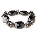 Elegance by Carbonneau B-9518-H-Black Hematite Black Faceted Chunky Glass Cut Fashion Stretch Bracelet 9518