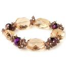 Elegance by Carbonneau B-9518-RG-Pink Gold Peach Faceted Chunky Glass Cut Fashion Stretch Bracelet 9518
