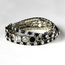 Elegance by Carbonneau B-963-Silver-Black Silver Black Multi Stretch Rhinestone Bracelet B 963