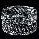 Elegance by Carbonneau B-9641-RD-CL Rhodium Clear Rhinestone Grecian Leaf Stretch Bracelet