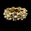 Elegance by Carbonneau B-969-G-Ivory Gold Ivory Vintage Stretch Pearl & Rhinestone Bracelet B 969