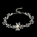 Elegance by Carbonneau B-9955-S-Ivory Silver Clear Marquise Round CZ Crystal & Ivory Glass Pearl Bridal Clasp Bracelet 9955