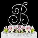Elegance by Carbonneau B-Renaissance-Silver Renaissance ~ Swarovski Crystal Wedding Cake Topper ~ Silver Letter B