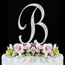 Elegance by Carbonneau B-Sparkle-Silver Sparkle ~ Swarovski Crystal Wedding Cake Topper ~ Silver Letter B