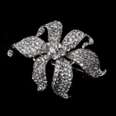 Elegance by Carbonneau barrette-7-silver Small Silver Clear Flower Barrette 7
