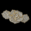 Elegance by Carbonneau Barrette-70963-LG-CL Light Gold Clear Rhinestone Rose Barrette