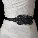 Elegance by Carbonneau Belt-1-Black Black Floral Bead & Sequin Sash Belt 1