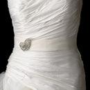 Elegance by Carbonneau Belt-Brooch-112 Bridal Belt Sash with Crystal Swirl Brooch 112