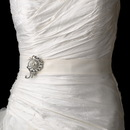 Elegance by Carbonneau Belt-Brooch-114 Bridal Belt Sash with Antique Crystal Swirl Brooch 114
