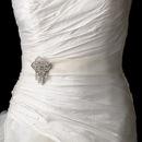 Elegance by Carbonneau Belt-Brooch-115 Bridal Belt Sash with Antique Crystal Quadrant Brooch 115
