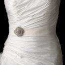 Elegance by Carbonneau Belt-Brooch-116 Bridal Belt Wedding Sash with Antique Crystal Swirl Brooch 116