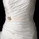 Elegance by Carbonneau Belt-Brooch-118 Bridal Wedding Sash Belt with Antique Silver Marquise Crystal & Pearl Brooch 118