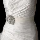 Elegance by Carbonneau Belt-Brooch-129 Wedding Sash Bridal Belt with Silver Clear Crystal Leaf Brooch 129