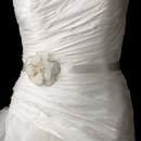 Elegance by Carbonneau Belt-Brooch-41 Belt with Silver Ivory Beaded Flower Pearl Brooch 41