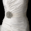 Elegance by Carbonneau Belt-Brooch-53 Belt with Antique Silver Clear Crystal Floral Brooch 53