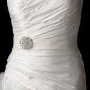 Elegance by Carbonneau Belt-Brooch-58 Belt with Antique Silver Clear Crystal Floral Brooch 58